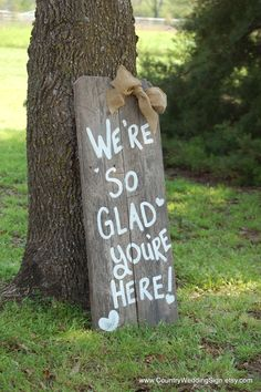 Welcome to our Wedding Were So Glad Your Here Rustic Wedding Sign Romantic Weddings Painted Reclaimed Wood Vintage Weddings Road Signs Barn Trendy Wedding, Diy Wedding, Dream Wedding, Wedding Day, Destination Wedding, Wedding Gifts, Wedding Photos, Garden Wedding, Etsy Wedding Signs