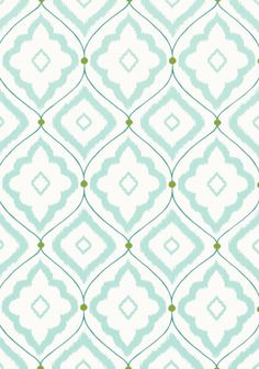 Bungalow Wallpaper A large trellis design wallpaper with rough diamond shapes repeated in elegant hoops, printed in aqua on a white background.