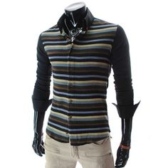 (CE51-BLACK) Slim Fit Stripe Pattern Knit Front Stretchy Shirts