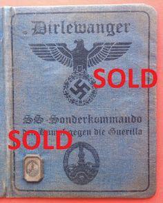 36TH WAFFEN GRENADIER DIVISION SS DIRLEWANGER WAFFEN SS SOLDBUCH ID CARD WEHRPASS PRICE $125