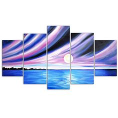 Seascape with Blue and Purple Sky Canvas Oil Painting