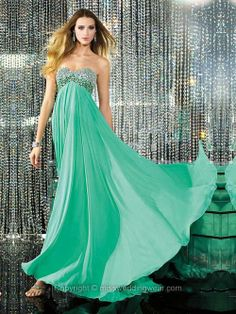 A-line Sweetheart Chiffon Ankle-length Sleeveless Rhinestone Prom Dresses Green Evening Dress, Formal Evening Dresses, Strapless Dress Formal, Chiffon Dress, Evening Gowns, Prom Dress 2013, Homecoming Dresses, Dresses 2014, Prom 2014