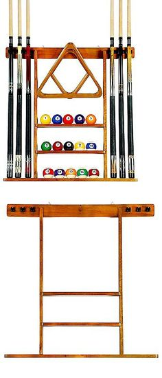 Ball And Cue Racks 75185: Pool Table Wall Mount Rack Mahogany For 6 Cues  Billiard