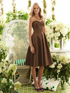 Chic Coffee Tea Length Sweetheart Neck Sleeveless A-line Pleated Satin Bridesmaid Dress