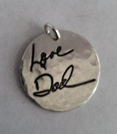 Memorial Jewelry Your Actual Loved Ones Writing by surfingsilver, $105.00. This would be great for a Bride to carry down the isle with her. You could wear it on a chain or pin it to your flower bouquet. Or pin it on the groom in memorial of a loved one.