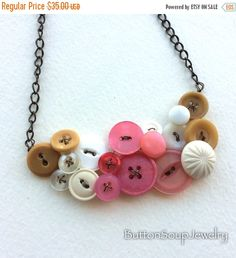 Spring Sale Tan, White, and Coral Pink Large Vintage Button Statement Necklace by buttonsoupjewelry on Etsy