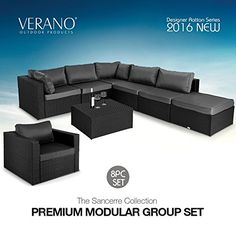 From the VERANO® design studios, Italian impressed traces, versatility, convenience and top quality make this furniture set a helpful asset… London Shopping, Shopping Deals, Rattan Garden Furniture, Outdoor Furniture, Corner Sofa And Chair, Grey Cushions, Design Studios, Indoor Outdoor, Furniture Sets