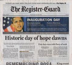 President Barack Obama Inauguration Register Guard Newspaper Jan 20 2009
