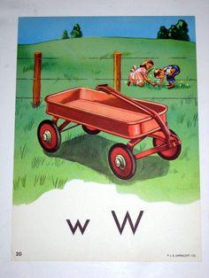 Vintage 1950s Large Alphabet Classroom Flash Card by paintedpony99, $12.00