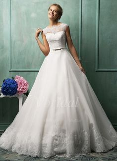 Wedding Dresses - $274.15 - Ball-Gown Scoop Neck Sweep Train Organza Wedding Dress With Lace Appliques Lace Bow(s) (0025093237)