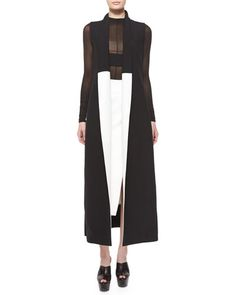 Narciso Rodriguez Colorblock Shawl-Collar Long Vest & Side-Slit Scuba Crepe Midi Skirt