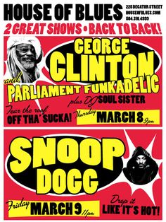 2012 House of Blues (New Orleans) Concert Poster — George Clinton, Parliament, Funkadelic and Snoop Dogg