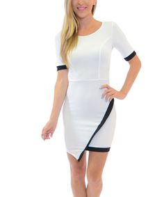 $10.29 marked down from $40! White & Black Scoop Neck Bodycon Dress #zulilyfinds