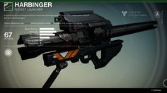 A general purpose Vanguard-issued rocket launcher. Apprentices at the GNT collaborative rebuild Barons into Harbingers. The Harbinger is an uncommon Vang... #destiny