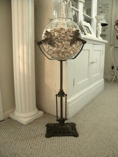 Antique cast iron aquarium fish bowl stand ebay for Fish bowl stand