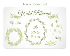 Hand Drawn Flower Wreaths, Garland and Leaves Design Elements - Instant Download - set 2
