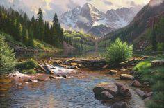 Rocky Mountain Grandeur by Mark Keathley ~ lake waterfall pine trees