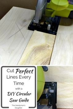 No more wobbly cuts! Create this easy DIY circular saw guide and get perfectly straight cuts every time! - The Handyman's Daughter