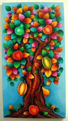 pintura de arboles en acrilico - Buscar con Google