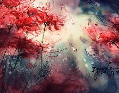 彼岸花和过程都在这啦!-Zgoudan狗蛋啊_插画,水彩,花卉,原创,浓烈,手绘_涂鸦王国插画