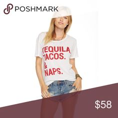 🆕 Tequila Tacos & Naps Chaser Tee BRAND NEW WITH TAGS. Currently listed on their website for $62 + taxes and shipping.   🌮 Vintage jersey crew neck tee 🌮 60% cotton, 40% polyester Chaser Tops Tees - Short Sleeve