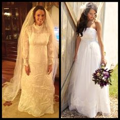 Mother's Vintage Wedding Dress - redesigned before and after picture Though I don't love that it lost all of its vintage feel. After Wedding Dress, Old Wedding Dresses, Wedding Dress Bustle, Wedding After Party, Diy Wedding Dress, Wedding Dress Styles, Wedding Gowns, Wedding Ideas, Wedding Bells