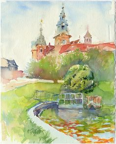 Original watercolor painting architecture painting by OlgaSternyk