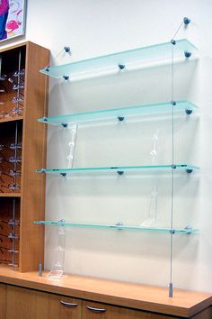 Cable Suspended Glass Shelves Cable Suspended Glass Shelves suspended glass shelf glass cable shelving supporting bread 746 X 1114 Window Shelves, Display Shelves, Display Case, Shelving, Bar Shelves, Display Cabinets, Regal Display, Optometry Office, Glass Shelves In Bathroom