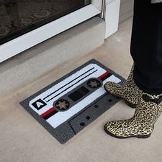 cassette doormat.  Old School Rocks. Maybe a little pricey for a doormat at $50?