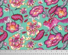 Chipper - Tula Pink - Chipmunk Sorbet - Cute Animal Fabric - Novelty Fabric - Teal and Pink Floral Fabric - Chipmunk Camouflaged in Florals Tula Pink Fabric, Floral Fabric, Cotton Fabric, Teal And Pink, Aqua Blue, Free Spirit Fabrics, Novelty Fabric, Chipmunks, Beautiful Bags