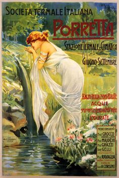 ITALY-SPRING-LADY-SPARKLING-WATER-PORRETTA-ITALIAN-VINTAGE-POSTER-REPRO-12-X16