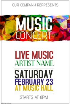 Concert  Flyer  Poster Template By Macrochromatic Via Behance
