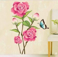 muurstickers bloemen roze roos met vlinder