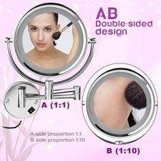 Floureon Wall mounted 8.5 inch Double Sided Cosmetic Make up Shaving LED Lighted Bathroom Mirror 10x Magnification