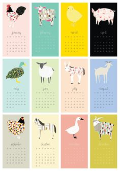 2016 Barnyard Wall Calendar Barnyard Calendar Wall by Gingiber Creative Calendar, Art Calendar, Desk Calendars, Graphic Design Magazine, Magazine Design, Kalender Design, Design Poster, Planner, Design Reference