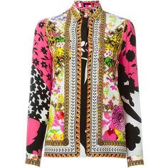 Versace Floral Baroque Print Shirt (16 000 ZAR) ❤ liked on Polyvore featuring tops, multicolour, versace shirts, longsleeve shirt, colorful shirts, floral collared shirt and shirts & tops