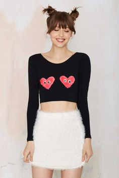 Scraps by Sveta Fuzzy Love Crop Top - Cropped New Outfits, Cool Outfits, Fashion Outfits, Grunge, Topshop Outfit, Vogue, Black Crop Tops, Long Sleeve Crop Top, Dress Me Up