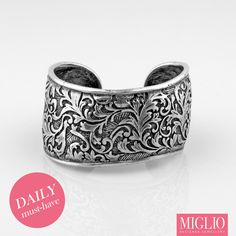 Precious Basics Collection - Organic burnished silver cuff with floral arabesque detail Silver Cuff, Silver Jewelry, Cuff Bracelets, Bangles, Jewelry Design, Designer Jewellery, Wild Hearts, Arabesque, Swarovski Crystals