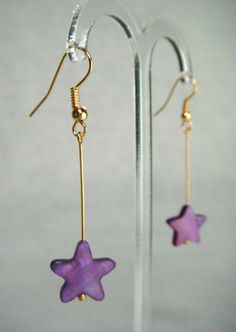 Mother of Pearl Star Drop Earrings - Blackberry - £5.50 at http://jewellerybyrebecca.co.uk/mpe007