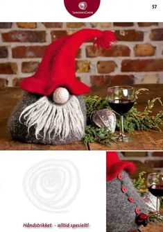 Nisse til vinpose pattern by Ingvild Overlien/Jo Sterud Swedish Christmas, Christmas Gnome, Great Christmas Gifts, Christmas Knitting, Christmas Deco, All Things Christmas, Holiday Crafts, Christmas Stockings, Christmas Ornaments