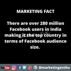 There is a reason why company choose Facebook to promote them self n market them self. Facebook is one of the biggest platform with huge audience of 280 million users. Facebook is very essential for social media optimization and social media marketing and this marketing fact supports the decision of marketing company and social media marketing experts. Fact: There are over 280 million Facebook users in India making it the top country in terms of Facebook audience size.  #marketingenthu Top Country, Facebook Users, Social Media Marketing, Self, Platform, Facts, India, How To Make, Goa India