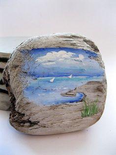 bemaltes-treibholz-segelboote-naturliche-dekoration-ocean-art-strand-dekor-nautisch-b/ - The world's most private search engine Painted Driftwood, Driftwood Art, Stone Painting, Painting On Wood, Rock Crafts, Diy And Crafts, Art Pierre, Driftwood Projects, Driftwood Ideas