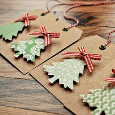 I love the simplicity of this....Christmas tree gift tags DIY. Use the foam stick tabs to give them dimension.