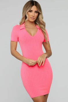 Most Likely To Succeed Polo Dress - Neon Pink