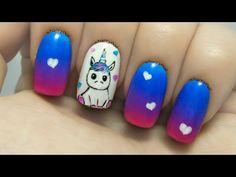 Nails ideassplendid cute nail designs for kids Black Nail Designs, Pretty Nail Designs, Simple Nail Designs, Nail Art Designs, Unicorn Nails Designs, Unicorn Nail Art, Toothpick Nail Art, Animal Nail Art, Nail Art For Beginners