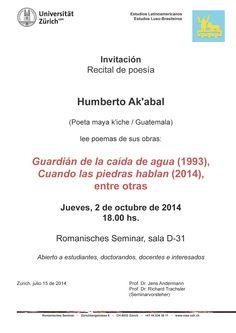 Invitación al recital de poesía de Humberto Ak'abal en la Universidad de Zúrich (2 de octubre de 2014).