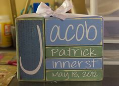 Large Personalized Girl or Boy Birthdate Wood Name Blocks, Custom Nursery, Baby Shower Gift, Baptism, Christening