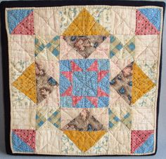 Doll quilt made of early-to-mid-19thc. cottons, including roller printed fabrics. Originally collected in Tuckerton, New Jersey. 11-1/2″ square. c.1860s, J. Compton Gallery