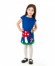 Mushroom applique girls dress, handmade clothing, kids unique and beautiful outfits