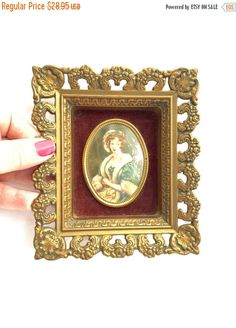 SEPTEMBER SALE VINTAGE Gold Picture Porcelain Cameo in Ornate Gold and velvey Rococo Frame cameo creation Mary By c e Leslie